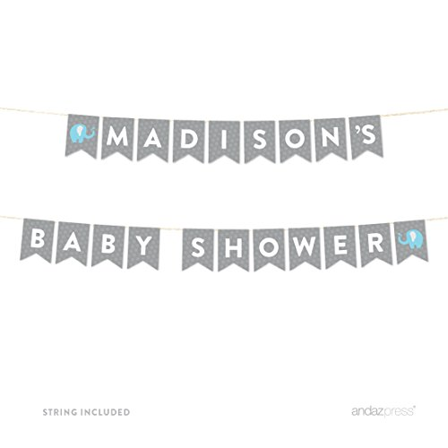 Andaz Press Boy Elephant Baby Shower Collection, Personalized Hanging Pennant Party Banner with String, Madison's Baby Shower, 8-Feet, 1-Set, Custom Name, Decor Paper (Custom Paper Banners)