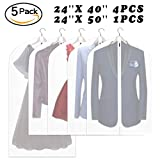 Wallaby Pack of 5 PEVA Garment Bag, Full Zipper Suit Bag , Light Weight, 4 Medium and 1 Large