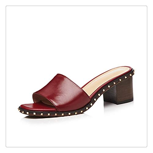 NNHLPO& Square Toe Square Heel Women Sandals Fashion Rivet High Heel Sandals Women Shoes Zapatos Mujer Sandals Femme 2018 Nouveau Wine Red 34 ()