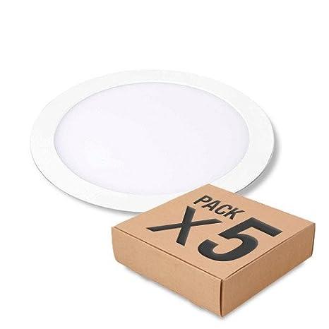 Pack 5 unidades Downlight Led Circular Frosvik de 18W color de luz Blanco frío 6000K: Amazon.es: Iluminación