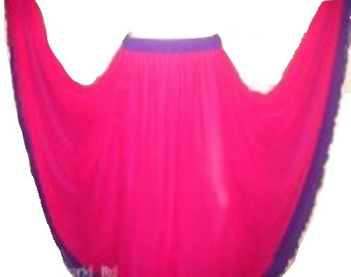 2 Layer Reversible Belly Dance Dancing Circle Skirt UK Size 10-24 (Redy Pink Top Layer Purple Bottom Layer)