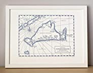 Martha's Vineyard Massachusetts, Letterpress Map Unframed P