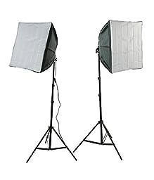 ePhotoInc Photography Video Studio Lighting Kit 2 EZ Softboxes Flourescent Photo Video Lighting H24S