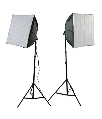 ePhotoInc Photography Video Studio Lighting Kit 2 EZ Softboxes Flourescent Photo Video Lighting H24S by ePhotoinc