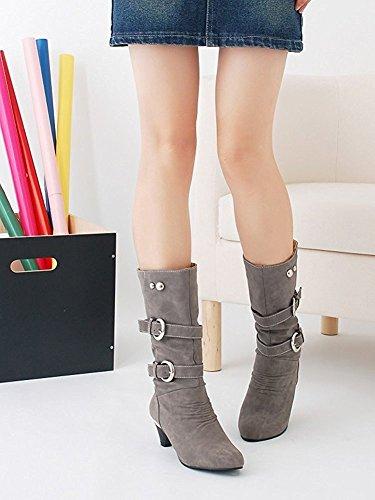Maybest Womens Autunno Inverno Elegante Stivali Alti Stretch Block Tacco Alto Bottone Donna Scarpe Grigio