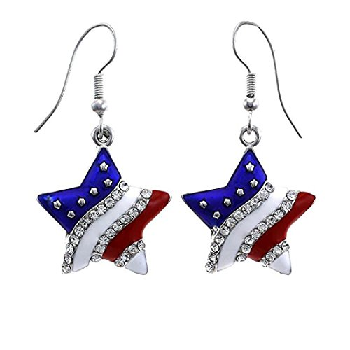Patriotic Red White Blue American USA Flag Star Dangle Drop Earrings 4th of July Independence Day Gift -