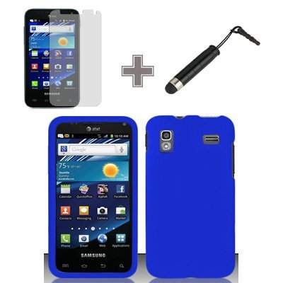 3-Items-Combo-Case-Screen-Protector-Film-Stylus-Pen-Rubberized-Solid-Blue-Color-Snap-on-Solid-Case-Hard-Case-Skin-Cover-Faceplate-for-Samsung-Captivate-Glide-4G-i927-ATT