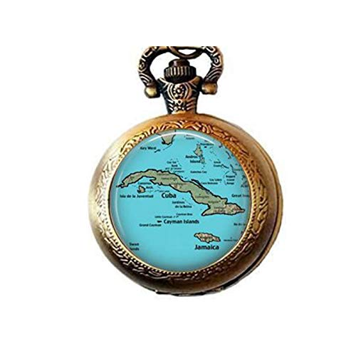 (lukuhan Retro Cuba Vintage Map Jewelry - Optional Compass Charm - Caribbean Map Pocket Watch)