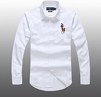 Polo Ralph Lauren Hombre Botón Abajo Camisa Oxford de manga larga, color blanco: Amazon.es: Ropa y accesorios
