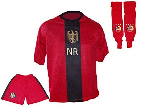 Spielfussballshop Deutschland Trikot rot schwarz Hose Stutzen mit mit mit Wunschname Nummer Kinder Größen B004MI7BTO Mdchen Hat einen langen Ruf 25bbc5