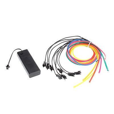 BPZKIWE 1 metro flexible coche decorativo neón luz 4 mm EL cable cuerda con batería fuente de alimentación # -6226