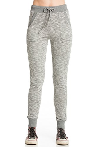 My Yuccie Women's Slim French Terry Jogger Sweatpants with Side Pockets (XSmall, H.Grey with Grey Band) (Marled Grey Pants Yoga)