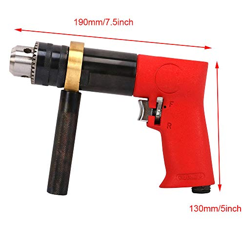 - Reversible Self-locking Pneumatic Drill Pistol Type Air Drill Tool for Metal, Plastic Products Powerful Drilling and Threading 1/2' 500RPM