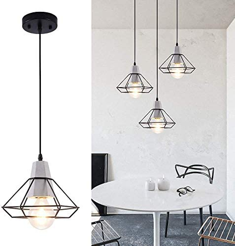 LBTSMUK Black Cage Pendant Lighting with Metal Shade Modern Concrete Ceiling Hanging Light for Kitchen Island Cafe Loft Counter Dining Room Bar Spiral Staircase