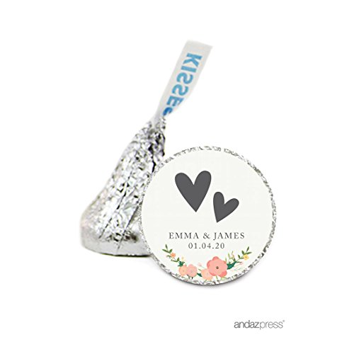 Hershey Personalized Kisses Labels - Andaz Press Personalized Chocolate Drop Labels Stickers Single, Wedding, Double Hearts Floral Roses, 216-Pack, Custom Name, for Hershey's Kisses Party Favors, Gifts, Decorations