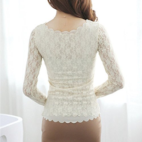 Womens Floral Lace Embroidery Pullover Long Sleeve Slim Tunics Blouse Shirt Tops (Beige)