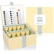 Tea Forté Tea Tasting Assortment Tea Chest, Assorted Variety Tea Box, 40 Handcrafted Pyramid Tea Infuser Bags - Black Tea, Herbal Tea, Oolong Tea, Green Tea, White Tea