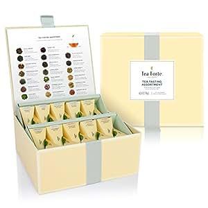 Tea Forté Tea Tasting Assortment Tea Chest Gift Box, 40 Handcrafted Pyramid Tea Infuser Bags - Assorted Variety Black Tea, Herbal Tea, Oolong Tea, Green Tea, White Tea