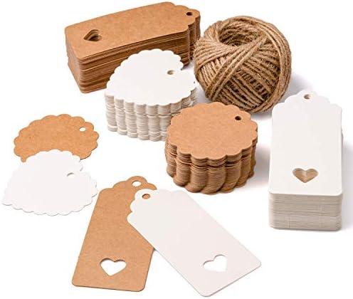 SuMille Geschenkanhänger Kraftpapier,Geschenk Anhänger 200stk mit Herz und Jute Schnur 20M,Kraftpapier Tags für Gepäck und DIY Tags