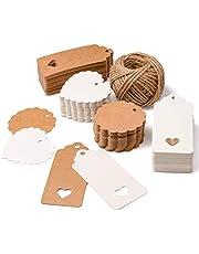 SuMille 200 piezas Etiquetas regalo etiquetas papel kraft de regalo de bricolaje,cuerda de cáñamo de 30m, utilizadas para bodas, cumpleaños y Navidad