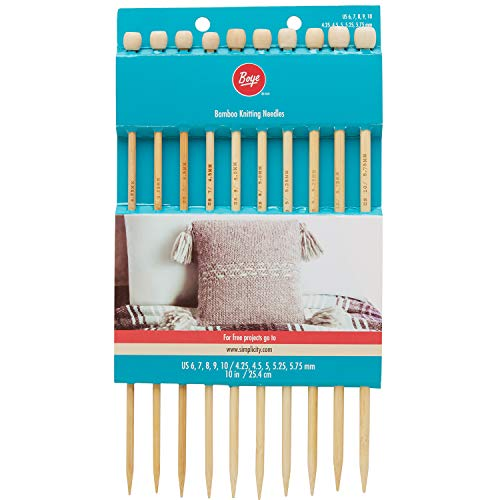 (Boye Bamboo Knitting Needle Set, 10pc, US Sizes 6'' - 10'')