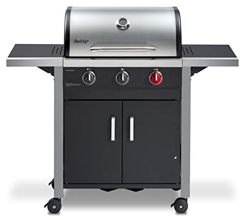 Enders® Gasgrill CHICAGO 3 R TURBO, mit Gussrost, 3-Brenner, Edelstahl-Deckel doppelwandig mit Grill-Thermometer, SWITCH…