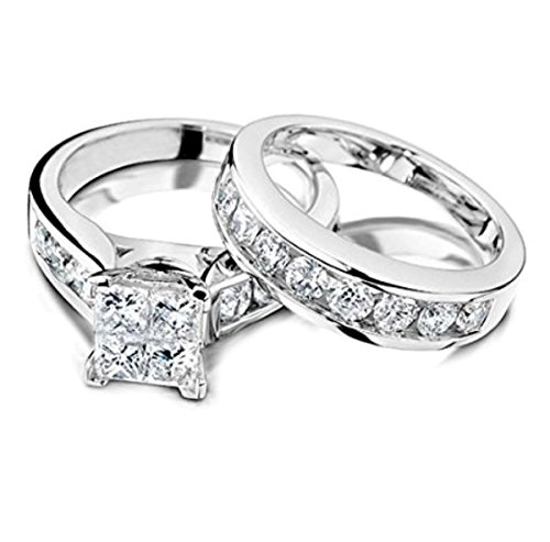 Princess Cut Diamond Engagement Ring and Wedding Band Set 1/2 Carat (ctw) in 10K White Gold (white-gold, 8) (Gold Invisible Set White)
