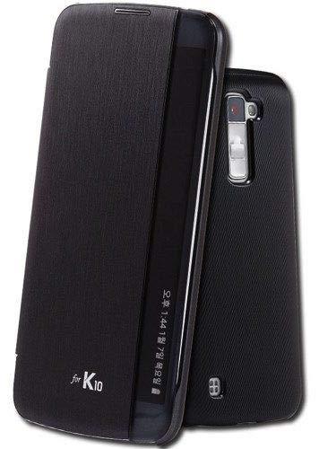 pretty nice 84ea4 a6c7b LG K10 Helix Leather Sensor Flip Cover for LG K10 Black