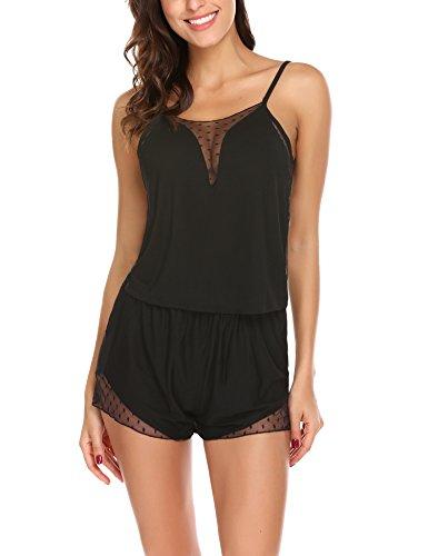 Cami Pajamas - Avidlove Women Sexy Sleeveless Pajamas Set Lace Camisole Sleepwear Medium Black
