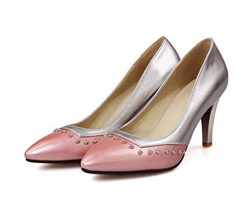 Printemps Femmes pointe pointue mince avec chaussures à talons hauts bouche superficielle diamant chaussures de cour de confort en métal métallique , pink , 37