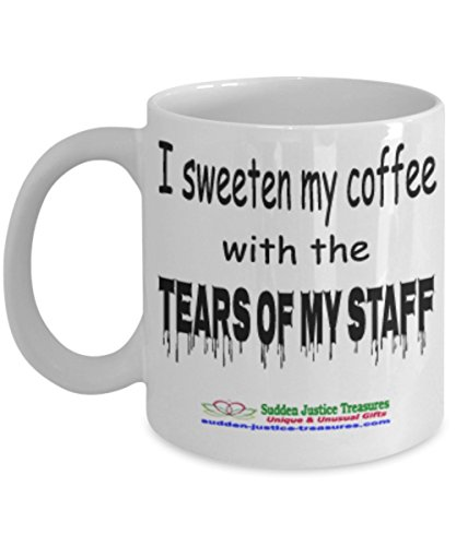 Taxi Cookie Jar (I Sweeten My Coffee With The Tears Of My Staff White Mug Unique Birthday, Special Or Funny Occasion Gift. Best 11 Oz Ceramic Novelty Cup for Coffee, Tea, Hot Chocolate Or Toddy)