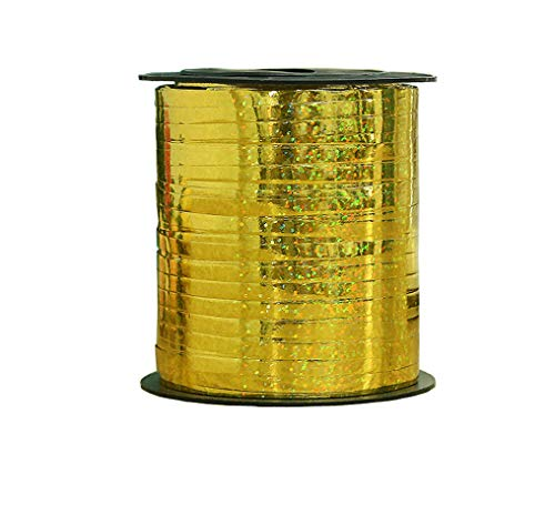 Hanlianwen 500 Yard Balloon Curling Ribbon Crimped Ribbon Roll Balloons String for Party Wedding Festival Decoration Gift Wrapping etc (Gold)