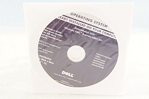 Dell Operating System ReInstallation DVD Windows Vista Business 32 Bit SP1 Year 2008 Part Number: R053G PC Computer Software Installation Recovery Driver Disc-Sealed New (Windows Dvd Vista Installation)