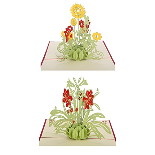Handmade 3D Pop-Up Greeting Cards Papercraft Sunflower + Daffodil + for Birthday/Anniversary/Friendship,set of 2