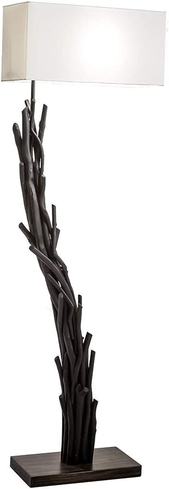 Modern Home Angled Driftwood Nautical Wooden Floor Lamp - Blackwood
