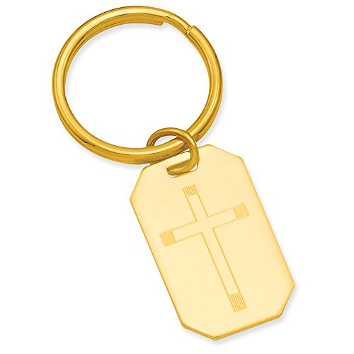 Best Designer Jewelry Gold-plated Kelly Waters Cross Engraveable Key Ring ()
