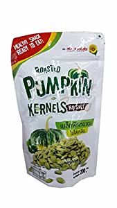 2 Packs of Roasted Pumpkin Kernels No Salt. Healthy and Delicious Snack, Ready to eat by Flower Food Brand. No Flavours, No Preservatives. (200 g/ pack)..