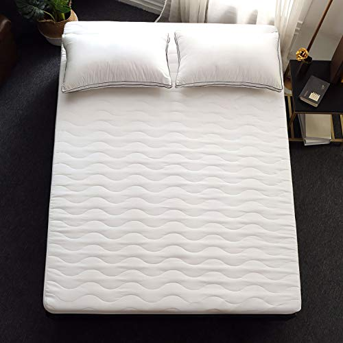 Allrange Basic Hypoallergenic Quilted Mattress Pad, Mattress Protector, Skirt Stretch Up-to 18' Deep, Snug Fit, 190TC, Machine Wash, Full Size