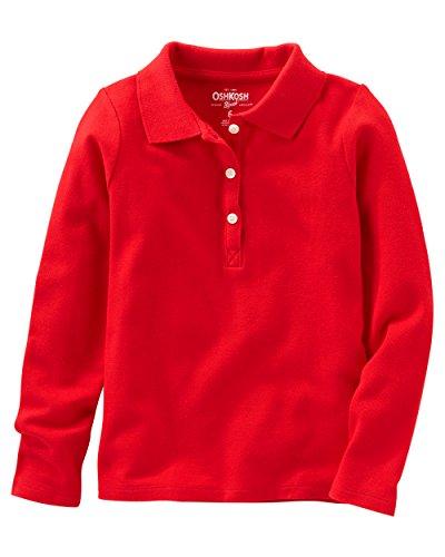 Osh Kosh Girls' Kids Long Sleeve Uniform Polo, Red/600, 5 (Girls Long Sleeve Polo)
