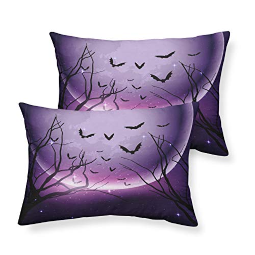 VITALE Pillow Cases Standard Size Set of 2,Cartoon Halloween Decorations Pillowcases Standard,Cartoon Purple Moon Bat Printed Pillow Cover