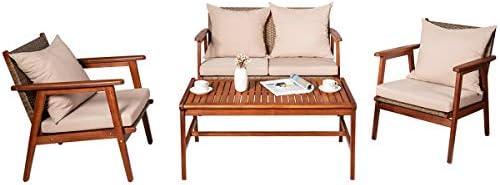 Tangkula 4 PCS Patio Wood Sofa Set