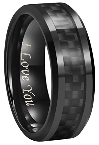 6mm 8mm 10mm Black Carbon Fiber Black Tungsten Carbide Wedding Band Ring Engraved