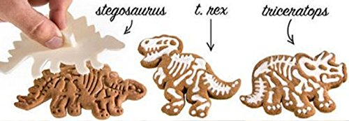 3 Dinosaur Shaped Cookie Cutters – 3-D Skeleton Fossil Super Set – Dino Shape Molds Cutters Stamps – T-Rex Triceratops Stegosaurus Shapes by Jolly Jon Products (Dinosaur Shape T-rex)