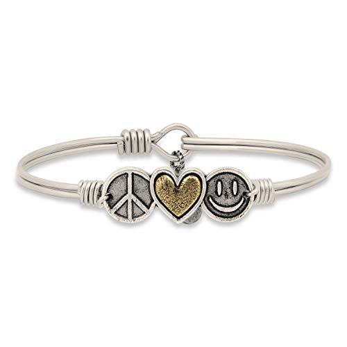 Luca + Danni Trilogy Bangle Bracelet | Peace Love Happiness - Regular/Silver Tone ()