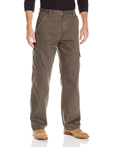 (Wrangler Authentics Men's Classic Twill Relaxed Fit Cargo Pant, Olive Drab, 35 x 30)