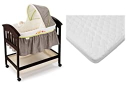 Summer Infant Fox & Friends Classic Comfort Wood Bassinet with Waterproof Mattress Pad Cover