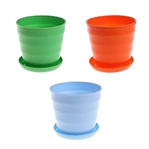 redriver 3macetas color brillante plástico macetas platillo boda jardín Decor
