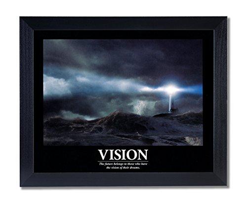 VISION Motivational Ocean Lighthouse Picture Black Framed Art Print