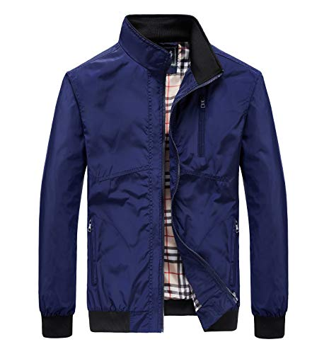 JYG Men's Casual Windbreaker Jacket Outerwear Lightweight Bomber Jacket Navy Blue