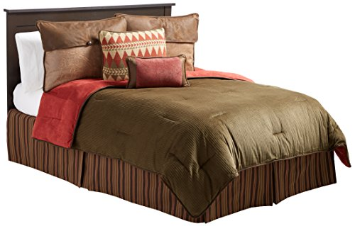 HiEnd Accents Wilderness Ridge Lodge Bedding, Full (Ensemble Bed Striped Red)